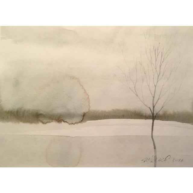 Frozen Pond Watercolor Painting - Image 1 of 2