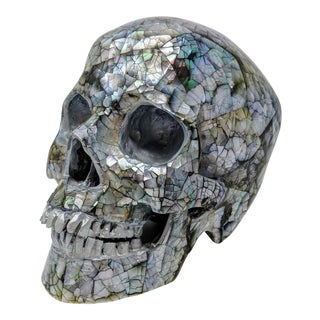 Handmade Mother of Pearl Skull Sculpture For Sale