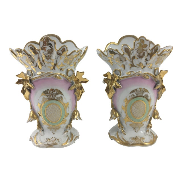 Old Paris Pink and Green Vases - a Pair For Sale