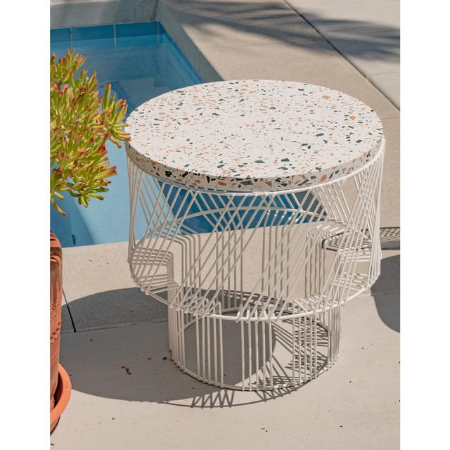 White Contemporary Indoor/Outdoor Terrazzo Table in White For Sale - Image 8 of 9