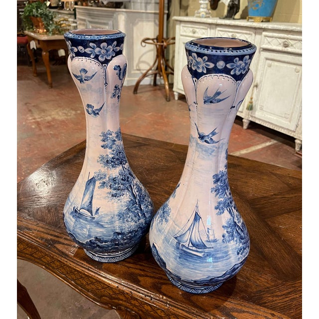 Pair of 19th Century French Delft Style Faience Vases With Blue and White Decor For Sale - Image 9 of 13