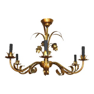 Tole Chandelier with Gilt Floral Detail and Faux Black Candles For Sale
