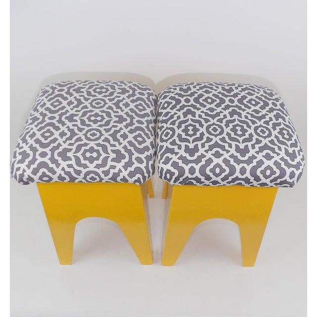 Mid-Century Modern Marigold Geometric Pattern Stools - A Pair - Image 7 of 8