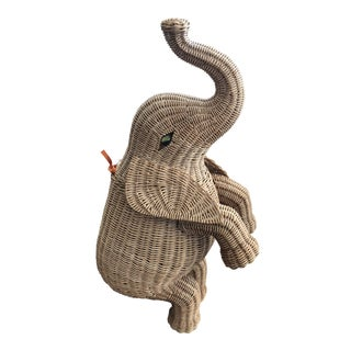1960s Figurative Wicker Elephant Basket With Lid For Sale