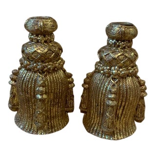 1970s Vintage Gilded Tassel Candlestick Holders - a Pair For Sale