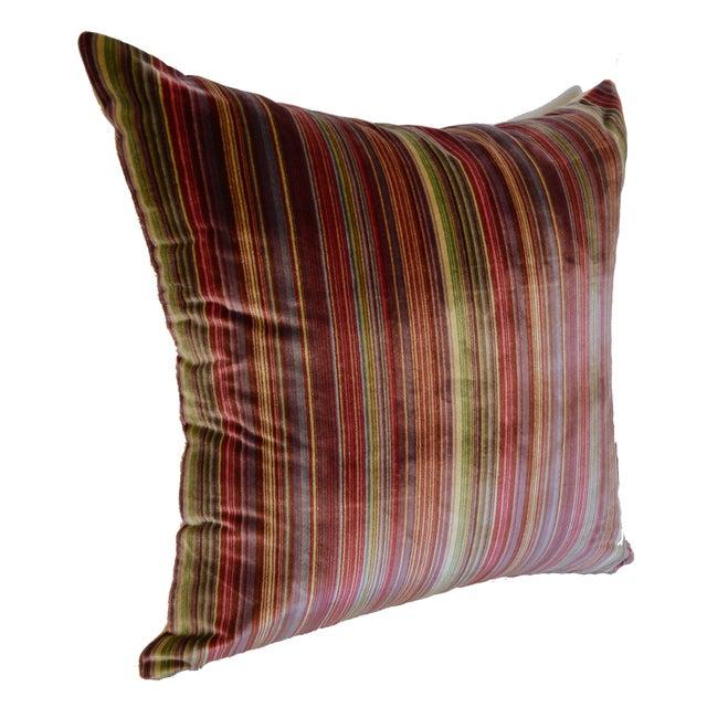 Scalamandré 100% Silk Velvet Rainbow Stripe Pillow For Sale - Image 10 of 10