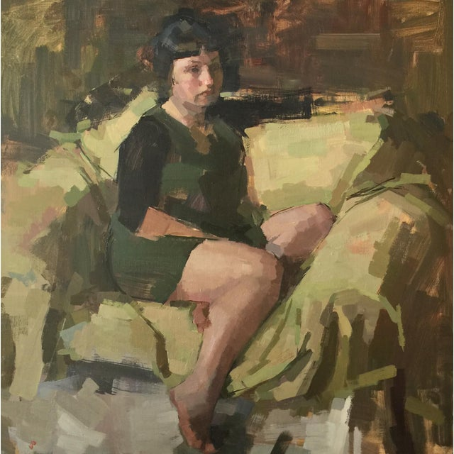 """Linen Pöyhönen """"Green Chair""""Contemporary Figure With Green Background Oil Painting For Sale - Image 7 of 7"""