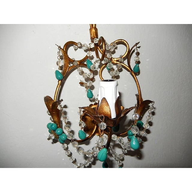 Gold French Turquoise Green Murano Beads Rock Crystal Swags Sconces For Sale - Image 8 of 10