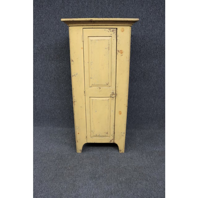 Light Yellow Habersham Rustic Country Style Painted Pantry Cabinet For Sale - Image 8 of 8