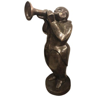 Large Life-Sized Bronze Modern Sculpture of a Trumpet Player
