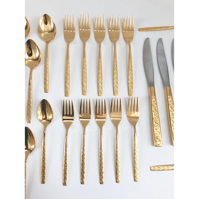 Mid-Century Modern Hollywood Regency Gold Plated Flatware - Set of 39 For Sale - Image 4 of 10