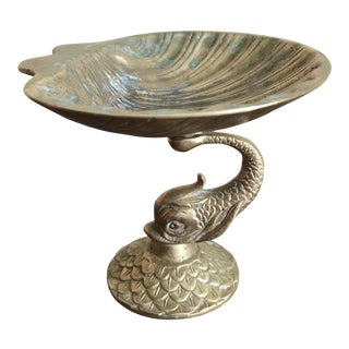 Vintage Mid 20th Century Brass Dolphin and Shell Dish For Sale