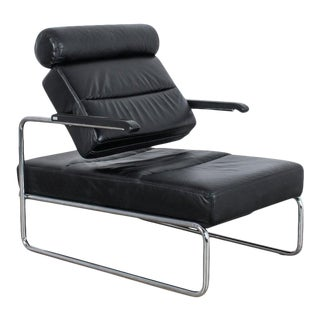 1970s Black Leather Adjustable Leather Lounge Chair by Thonet For Sale