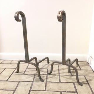 1960s Mid Century Modern Simple Iron Fireplace Andirons - a Pair Preview