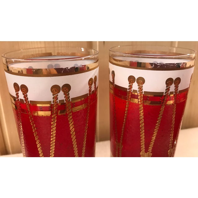 Mid-Century Modern Red Gold & White Highball Cocktail Glasses - Set of 6 - Image 6 of 9