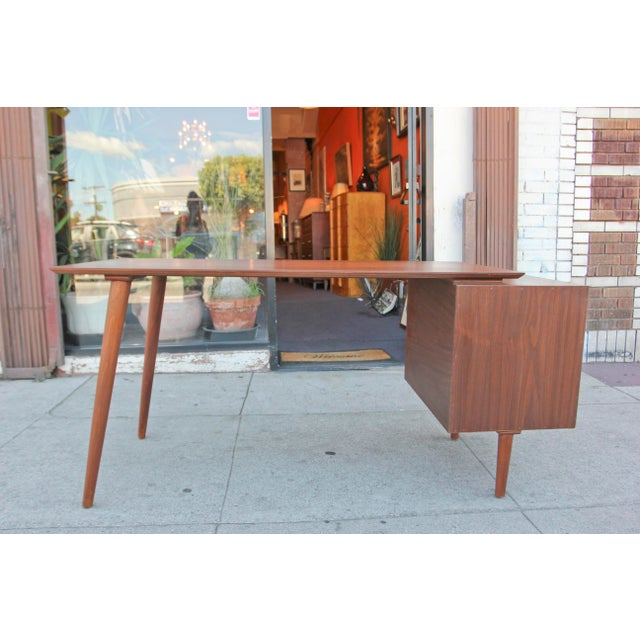Mid-Century Style Walnut Desk For Sale - Image 12 of 13