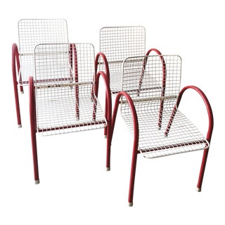 80's Vintage Designer Arc Grid Patio Chairs For Sale