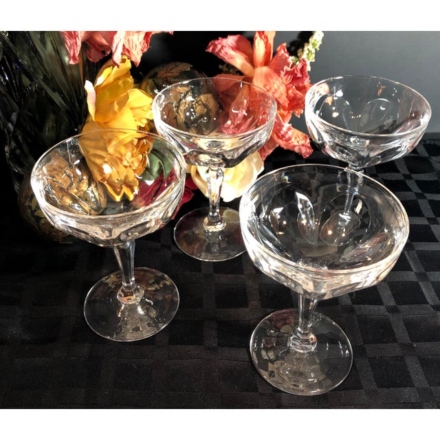 """Set of 4 Tall Champagne / Dessert Cup Cristal D'Arques Durrand """"Washington"""" Glasses For Sale - Image 10 of 11"""