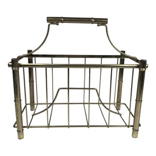 Vintage Brass Faux Bamboo Magazine Rack