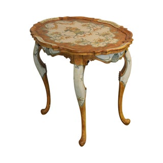 Hand Painted Scalloped Top Side Table With Elephant For Sale