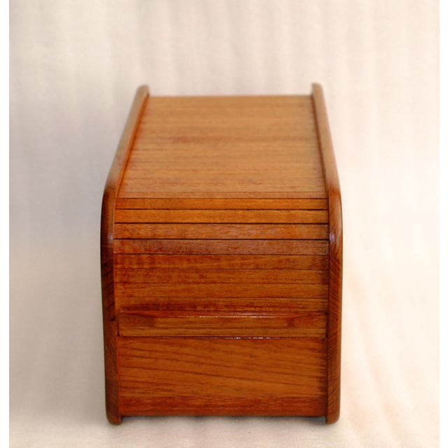 Brown Kalmar Teak Roll Top Desk Organizer Box For Image 8 Of