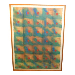 "1982 ""Floating Red"" Original Mixed Media Work on Paper by Toby Schmidt, Framed For Sale"