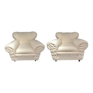 Mid-Century Modern Guglielmo Ulrich Lounge Chairs a Pair, Plush Sherpa Design For Sale