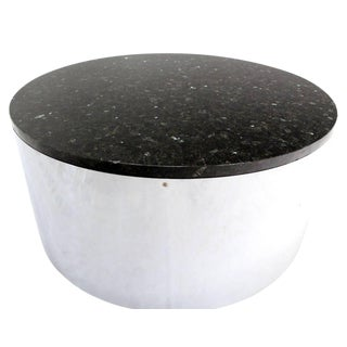 20th Century Modern Round Cylinder Shape Chrome and Granite Top Coffee Table For Sale