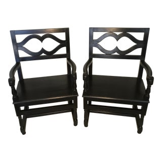 19th Century English Traditional Black Oak Armchairs - a Pair For Sale
