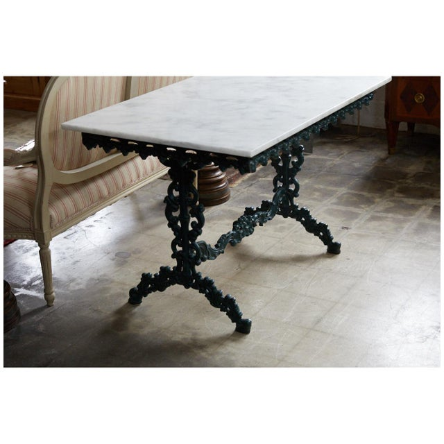 French Cast Iron and Marble Table For Sale - Image 4 of 7