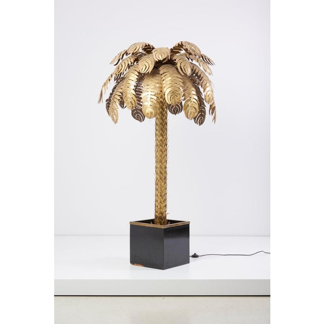 Hollywood Regency Pair of Very Impressive Brass Palm Floor Lamps by Maison Jansen For Sale - Image 3 of 9