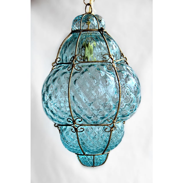 Metal Large 1940's Seguso Murano Blue Bubble Glass Pendant Chandelier For Sale - Image 7 of 7