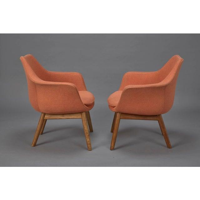 Mid-Century Modern Orange Fabric Mid-Century Modern Armchairs in Style of Eero Saarinen- A Pair For Sale - Image 3 of 6