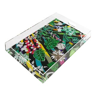 "Sabi Jungle Black, 22.5""x14.5"" Acrylic Tray For Sale"