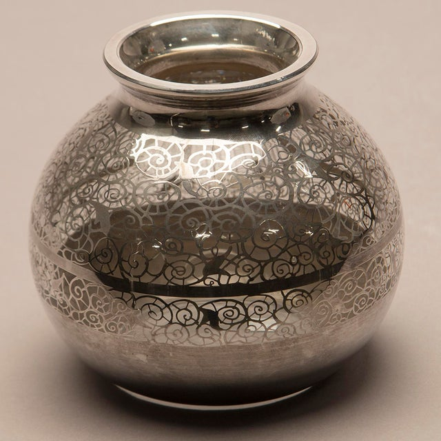 1950s Round Silver Overlay Vase For Sale - Image 4 of 7