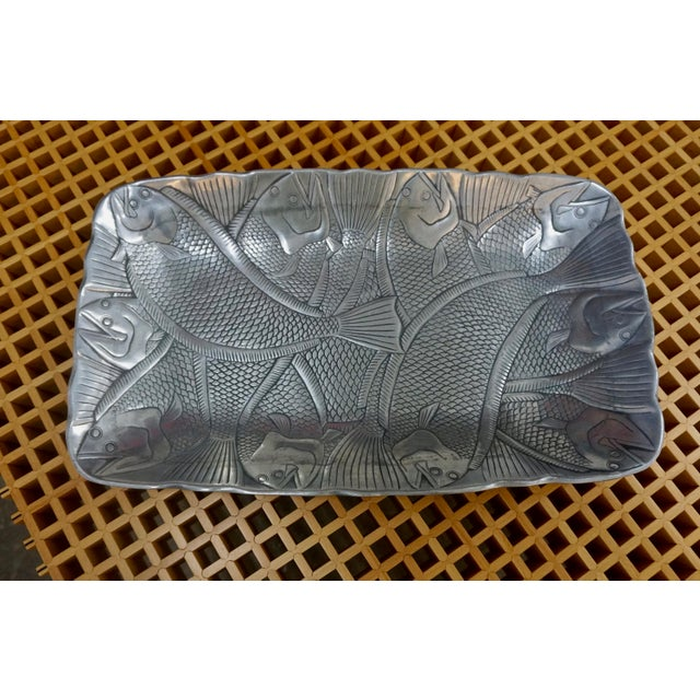 1970s Polished Aluminum Fish Platter by Arthur Court For Sale - Image 5 of 6