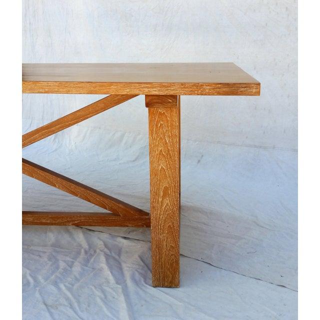 Vintage Pickled Teak Trestle Table - Image 9 of 11