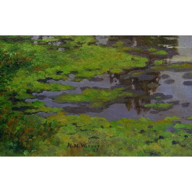 """California landscape with horsemen oil on canvas. Signed: """"H H Werner, 1937"""" lower left corner. Unframed. Edge wear."""