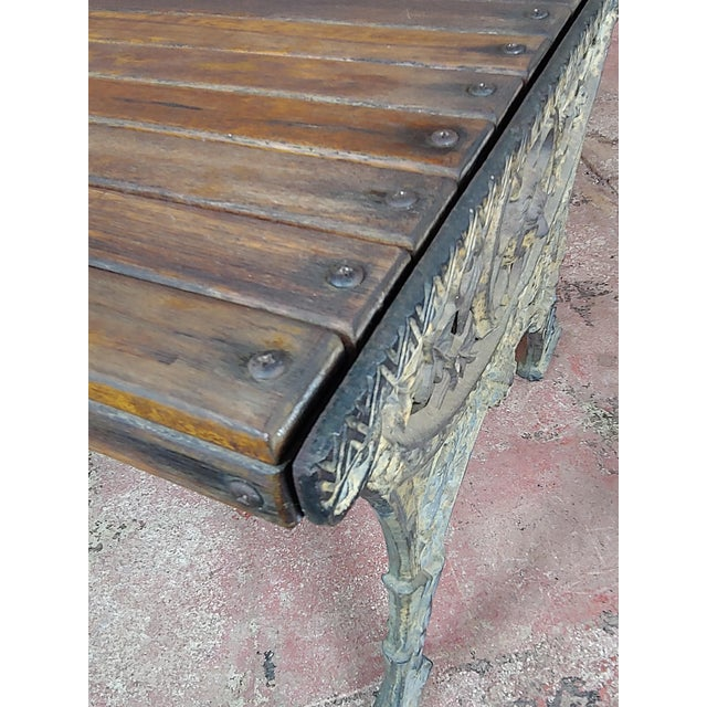19th Century Fabulous Cast Iron & Wood Patio / Garden 3 Pieces Set For Sale - Image 11 of 11