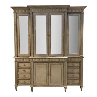 Alexa Hampton Hickory Chair Transitional Taupe Wood and Antique Mirror Drake Cabinet For Sale