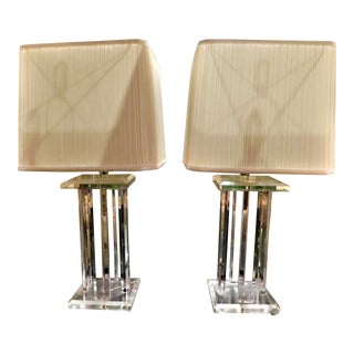 1970s Mid-Century Modern Lucite Lamps With Shades - a Pair For Sale