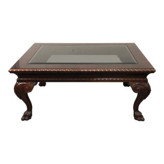 Baker Furniture Mahogany & Glass Coffee Table For Sale