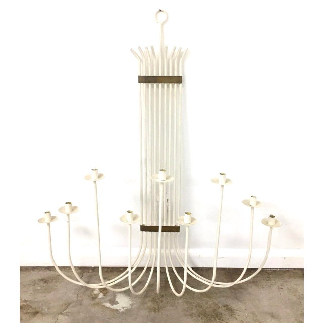 1960s Mid-Century Modern White Painted Wrought Iron & Brass Wall Candelabra For Sale - Image 5 of 5