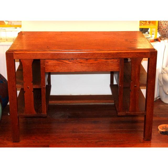 1920s Antique Stickley Desk Table Bookshelves Mission Oak Writing Desk For Sale - Image 13 of 13