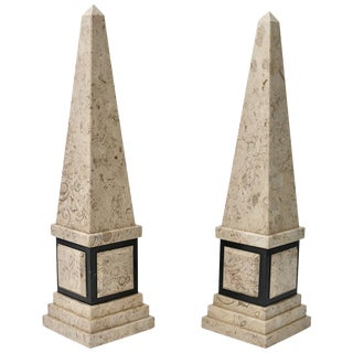 Empire Tan and Black Marble Obelisks - a Pair For Sale