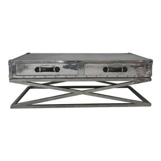 Contemporary Restoration Hardware Chrome Coffee Table For Sale