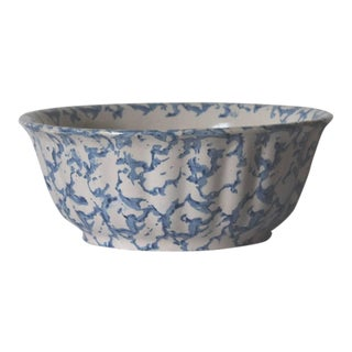 19th Century Large Sponge Ware Serving Bowl For Sale