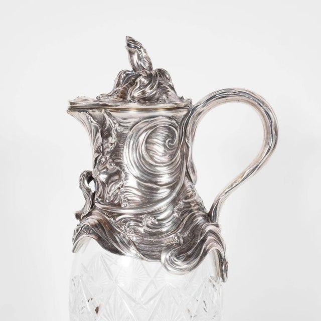 Early 20th Century Art Nouveau Sterling Silver and Cut Crystal Wine Decanter or Water Pitcher For Sale - Image 5 of 11