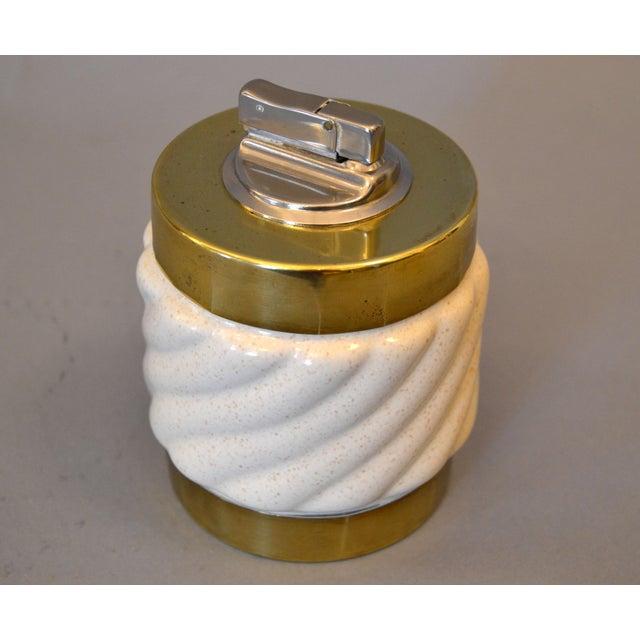 Mid-Century Modern Tommaso Barbi Beige Ceramic & Brass Lighter Italy, Signed For Sale - Image 11 of 11