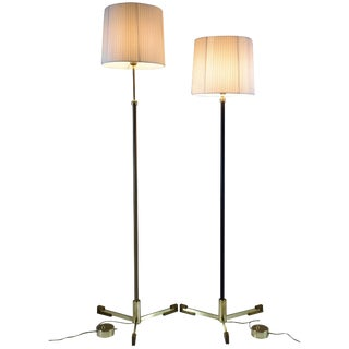 Equilibrium-II Contemporary Adjustable Leather Brass Floor Lamp For Sale